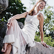 Одежда handmade. Livemaster - original item White felted dress with mesh. Handmade.