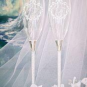 """Бокалы ручной работы. Ярмарка Мастеров - ручная работа Свадебные бокалы """" Австрийские кристаллы"""" с  монограммой.. Handmade."""