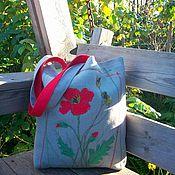 Сумки и аксессуары handmade. Livemaster - original item shopper: Mac. Linen bag with textile applique. Handmade.