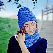"""Аксессуары ручной работы. Ярмарка Мастеров - ручная работа Вязаный комплект шапка + снуд """"Голубая волна"""". Handmade."""