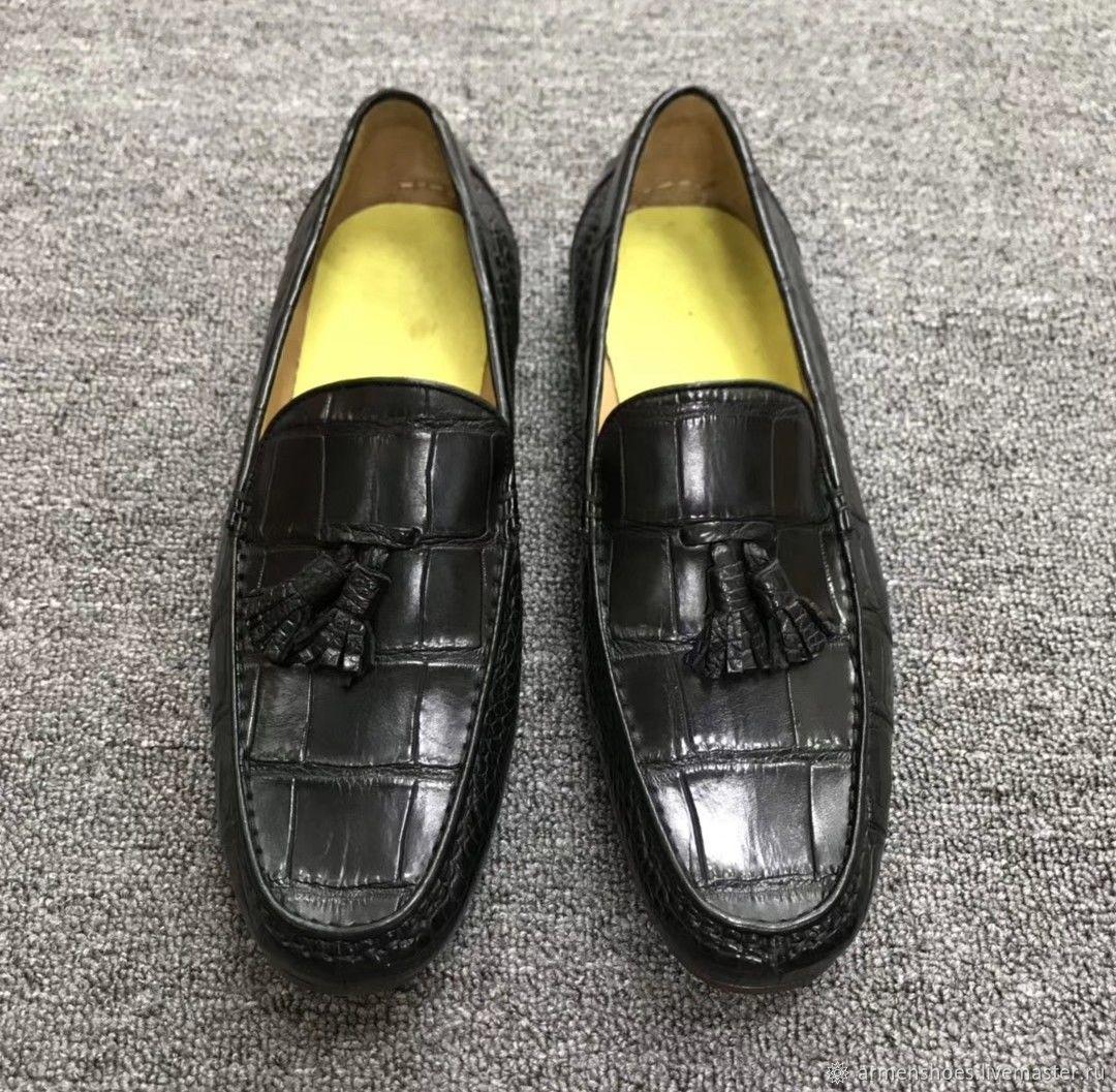 Moccasins men's crocodile leather, tassels, black color, Moccasins, Tosno,  Фото №1
