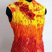 """Одежда ручной работы. Ярмарка Мастеров - ручная работа Жилет валяный """"Огонь"""" красно-оранжевый. Handmade."""