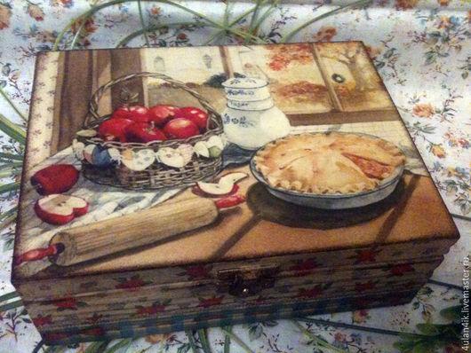 """Шкатулки ручной работы. Ярмарка Мастеров - ручная работа. Купить Чайная шкатулочка """"Яблочный пирог"""". Handmade. Шкатулка, яблоки"""