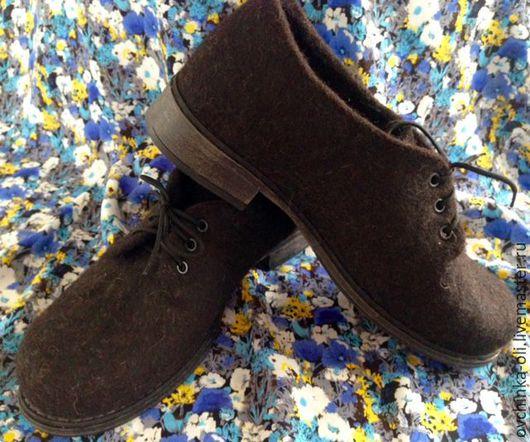 Обувь ручной работы. Ярмарка Мастеров - ручная работа. Купить Туфли валяные. Handmade. Коричневый, туфли ручной работы