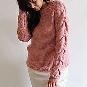 Одежда ручной работы. Ярмарка Мастеров - ручная работа Розовый пуловер с косами на руавах. Handmade.