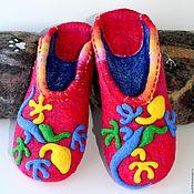 """Обувь ручной работы. Ярмарка Мастеров - ручная работа Валяные тапочки """"Яркие ящерицы"""". Handmade."""