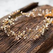 Свадебный салон ручной работы. Ярмарка Мастеров - ручная работа Венок для прически невесты в золотистых тонах. Handmade.