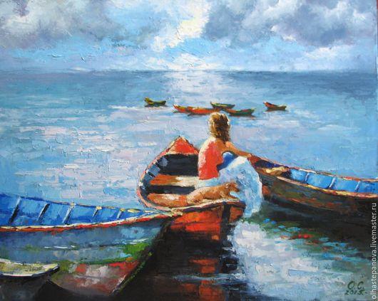 """Пейзаж ручной работы. Ярмарка Мастеров - ручная работа. Купить """"Девичьи мечты"""", холст, масло.. Handmade. Голубой, сиреневый, лодки"""