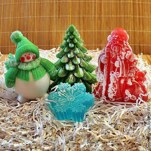 Набор мыла Новогодний № 4, в упаковке, Снеговик, Дед Мороз, Ёлка, Снежинка, Новогодний подарок купить.