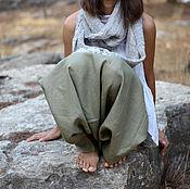 Одежда handmade. Livemaster - original item Khaki Linen Harem Pants with pockets. Handmade.