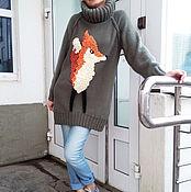 Одежда ручной работы. Ярмарка Мастеров - ручная работа Свитер с лисой. Handmade.