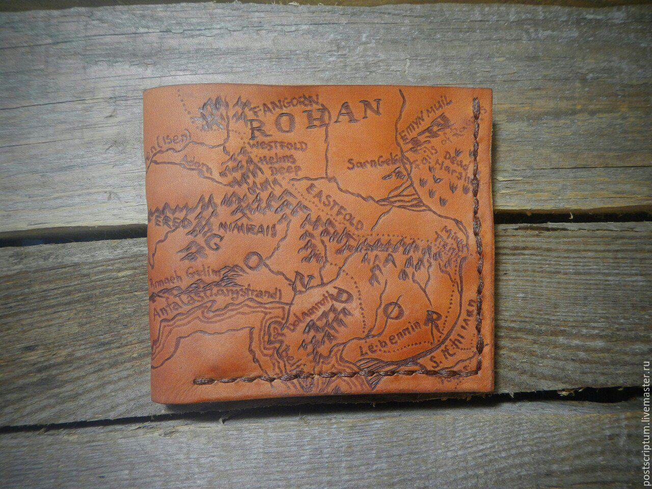 Leather purse with the map of Middle-earth
