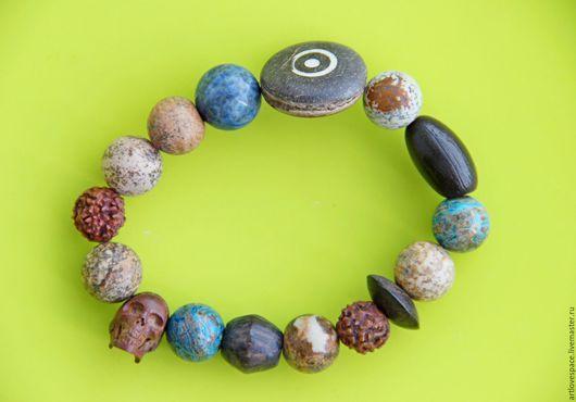 Браслеты ручной работы. Ярмарка Мастеров - ручная работа. Купить Браслет из натуральных камней с черепом из дерева. Handmade. Браслет с черепом