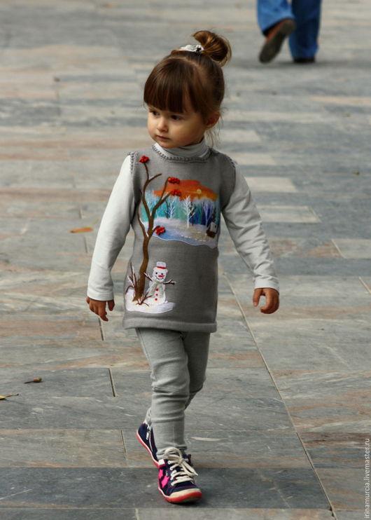 """Одежда для девочек, ручной работы. Ярмарка Мастеров - ручная работа. Купить Детский вязаный сарафан """"Зима"""". Handmade. Серый"""