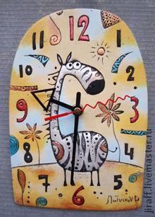 Часы для дома ручной работы. Ярмарка Мастеров - ручная работа. Купить Зебра. Handmade. Сувениры и подарки, часы для дома