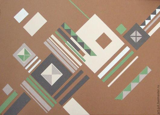 Абстракция ручной работы. Ярмарка Мастеров - ручная работа. Купить геометрическая композиция 2. Handmade. Зеленый, кремовый, картина в подарок