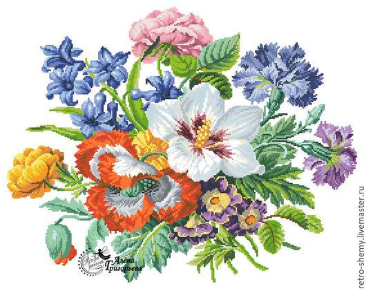 """Вышивка ручной работы. Ярмарка Мастеров - ручная работа. Купить Схема вышивки """"Любимые цветы"""". Handmade. Схема для вышивки, ретро"""