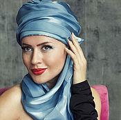 Аксессуары handmade. Livemaster - original item Bluemarin silk turban hat hijab with tale. Handmade.