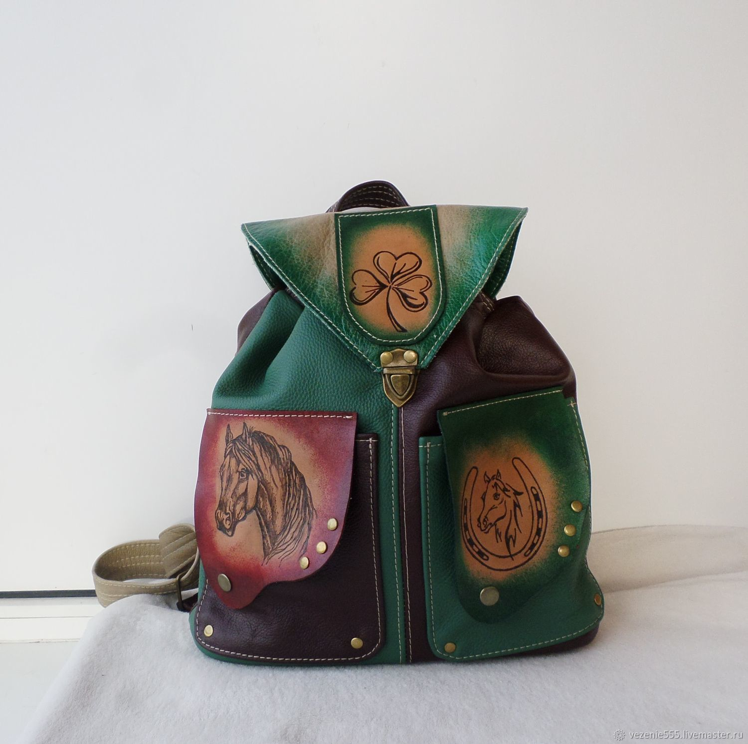 Available.Author's leather backpack with engraving For Good Luck and Luck, Backpacks, Noginsk,  Фото №1
