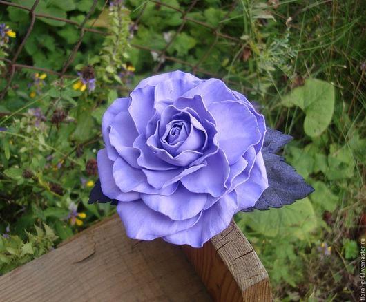 Заколки ручной работы. Ярмарка Мастеров - ручная работа. Купить Сиреневая роза для волос , зажим-брошь из фоамирана. Handmade. Фиолетовый