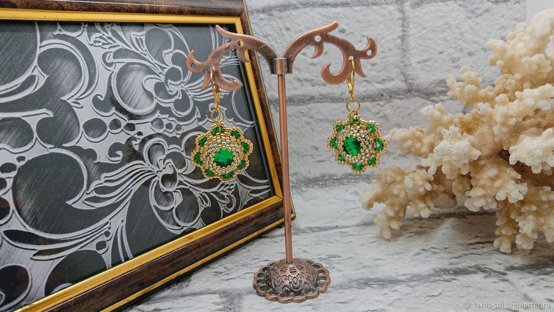 Серьги цветы зеленые из бисера 059, Earrings, Podolsk,  Фото №1