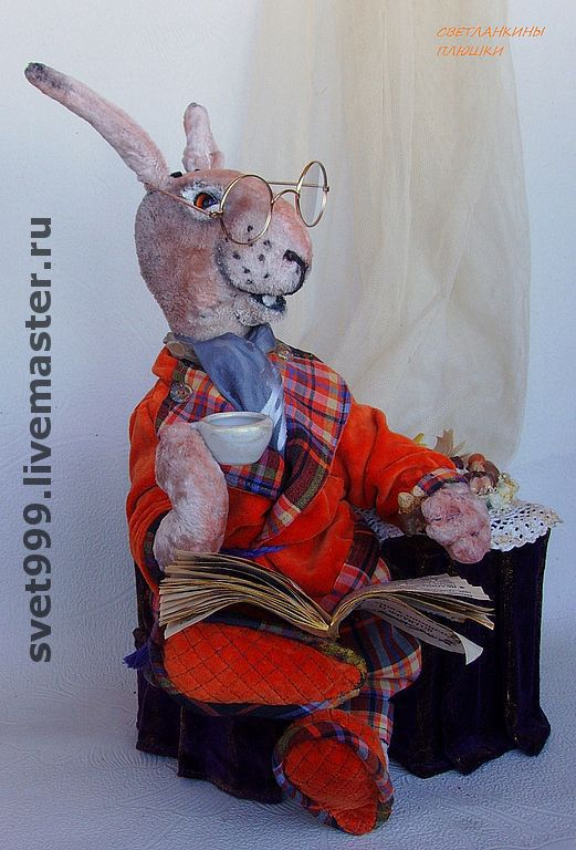 """Мишки Тедди ручной работы. Ярмарка Мастеров - ручная работа. Купить плюшевый зайка """"Сэр Гарри и его утренний чай"""". Handmade."""