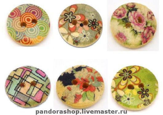 Шитье ручной работы. Ярмарка Мастеров - ручная работа. Купить Набор из 5 пуговицы с цветочным рисунком 15 мм. Handmade.