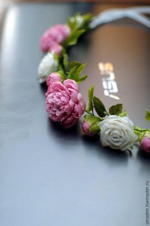 """Диадемы, обручи ручной работы. Ярмарка Мастеров - ручная работа. Купить Ободок """" Пионы и розы"""". Handmade. Белый"""