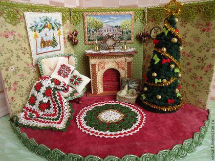 """Кукольный дом ручной работы. Заказать Вязаный комплект """"Рождество"""" в кукольный дом. Чемодан добра (Юлия). Ярмарка Мастеров. Белый"""