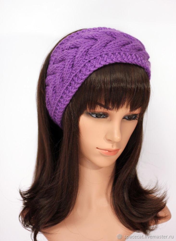Headband with a braid, knitted on the hair Purple, Bandage, Orenburg,  Фото №1