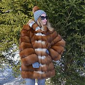 Одежда handmade. Livemaster - original item Fur coat Fox moth. Cross. Hooded.. Handmade.