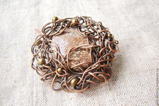Броши ручной работы. Ярмарка Мастеров - ручная работа. Купить брошь из меди с камнем яшма Лесная Фея (Wire Wrap). Handmade.