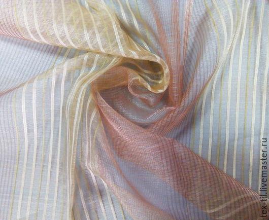 Текстиль, ковры ручной работы. Ярмарка Мастеров - ручная работа. Купить Органза в полоску для штор. Handmade. Розовый, ткань для штор