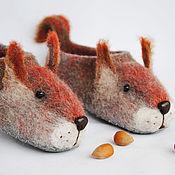Обувь ручной работы. Ярмарка Мастеров - ручная работа Белки. Тапочки валяные шерстяные.. Handmade.