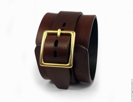 Браслеты ручной работы. Ярмарка Мастеров - ручная работа. Купить Кожаный браслет JD SINGLE - коричневый. Handmade. Натуральная кожа