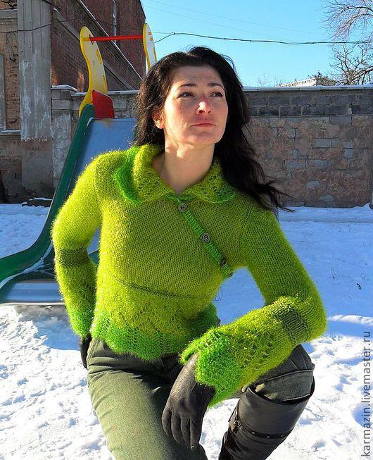 Кофты и свитера ручной работы. Ярмарка Мастеров - ручная работа. Купить Джемпер Елочка. Handmade. Зеленый, джемпер женский
