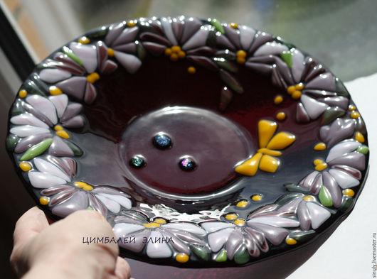 """Тарелки ручной работы. Ярмарка Мастеров - ручная работа. Купить Тарелка """"Летняя"""".. Handmade. Тёмно-фиолетовый, тарелка ручной работы"""