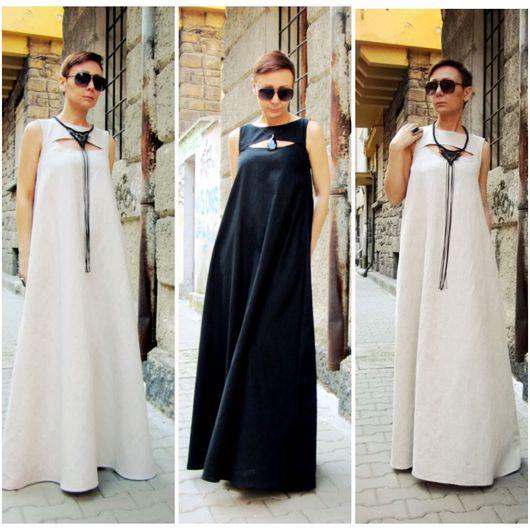 Платья ручной работы. Ярмарка Мастеров - ручная работа. Купить Сарафан из льна. Handmade. Бежевый, макси платье, платья летние
