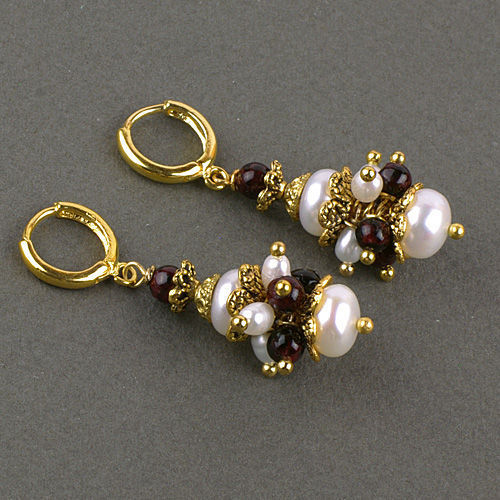 оригинальные короткие маленькие серьги гранат жемчуг натура подарок любимой девушке женщине сестре подруге дочери серьги жемчуг гранат колье браслет заказ эксклюзив талисман золото жемчуг гранат