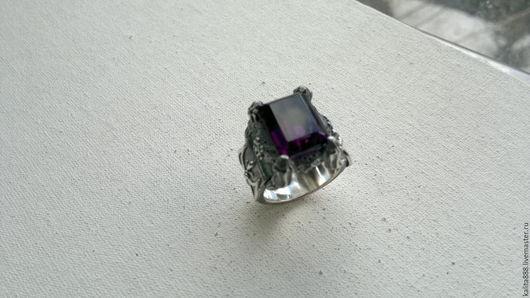 Украшения для мужчин, ручной работы. Ярмарка Мастеров - ручная работа. Купить Перстень серебряный с аметистом. Handmade. Тёмно-фиолетовый