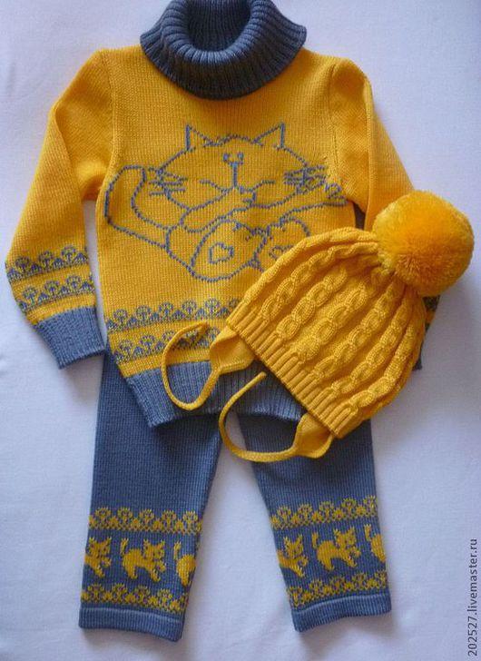 """Одежда унисекс ручной работы. Ярмарка Мастеров - ручная работа. Купить Костюм """"Котик"""". Handmade. Желтый, вязаный костюм, шерсть"""