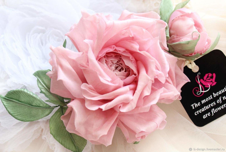 Розовое очарование. Цветок из шелка, Цветы, Киев,  Фото №1