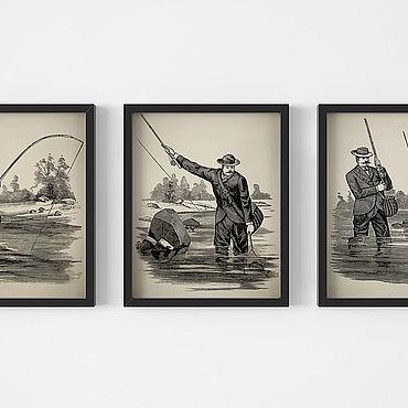 Картины и панно ручной работы. Ярмарка Мастеров - ручная работа Набор винтажных плакатов с видом рыбалки для украшения интерьера. Handmade.