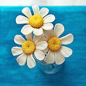 Украшения handmade. Livemaster - original item Studs Chamomile and orange flower. Handmade.