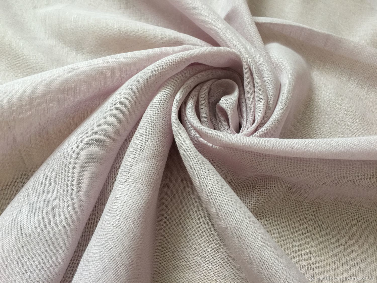 Linen veil with cotton ' Soft pink', Fabric, Ivanovo,  Фото №1