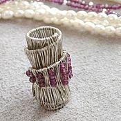Украшения handmade. Livemaster - original item Garnet and pearl Scroll necklace (925 silver, wire wrap). Handmade.