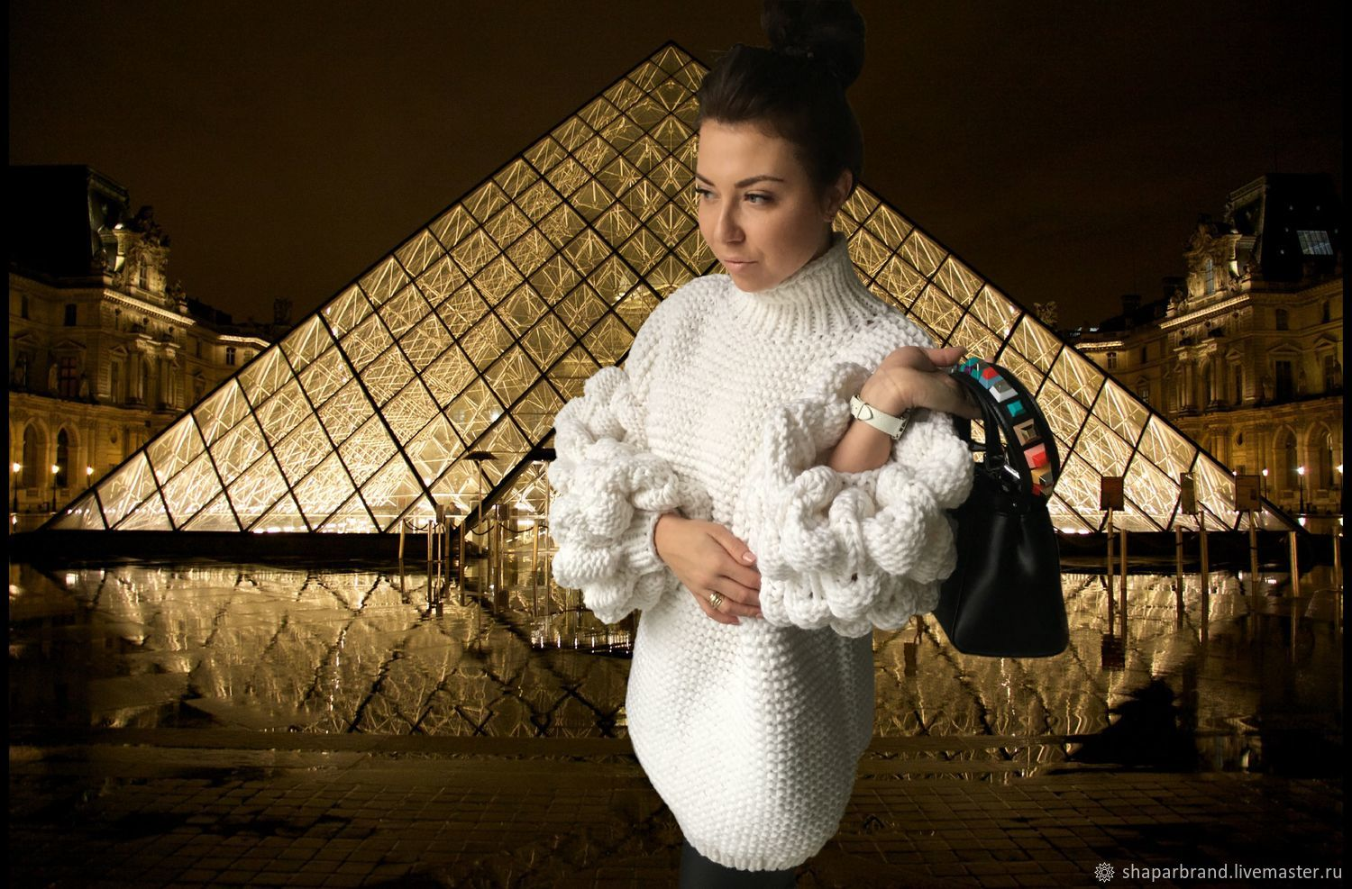 At pictures of beautiful women's sweater with oversized sleeves from ShaparBrand. Stylish sweater.