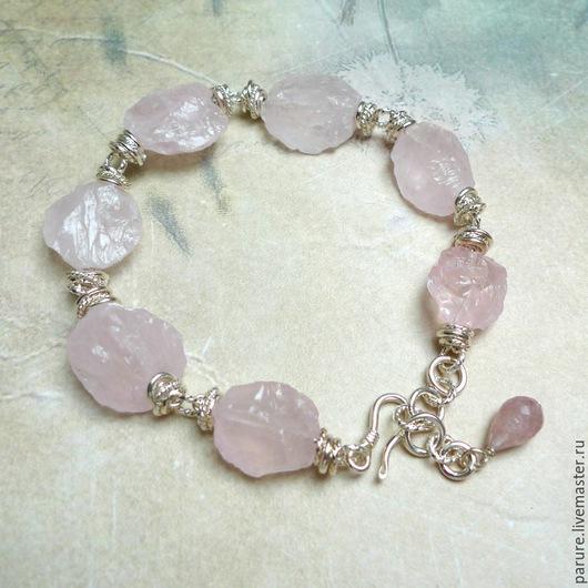 """Браслеты ручной работы. Ярмарка Мастеров - ручная работа. Купить """"Розовый Сахар"""", серебряный браслет с Розовым Кварцем. Handmade."""