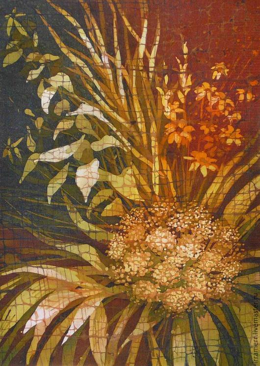 """Картины цветов ручной работы. Ярмарка Мастеров - ручная работа. Купить Батик в раме """"Осенний букет"""". Handmade. Оранжевый"""