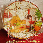 """Посуда ручной работы. Ярмарка Мастеров - ручная работа Тарелка """"Вино и сыр. Идеальное сочетание"""". Handmade."""